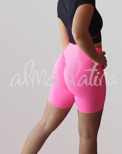mallas-cortas-de-mujer-ciclistas-rosa-ropa-de-baile-deportiva